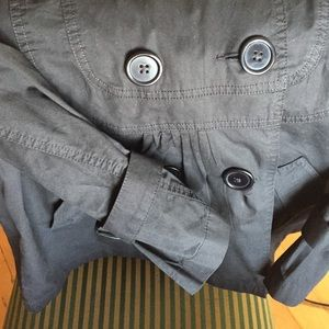 Black Cotton Jacket-Half Trench-XL